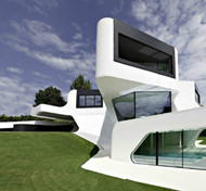 The unique shape of the villa design