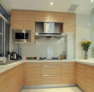 Modern neat beige kitchen design