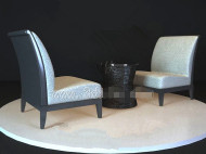 Black table white chair combination model