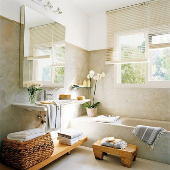 The modern white clean bathroom