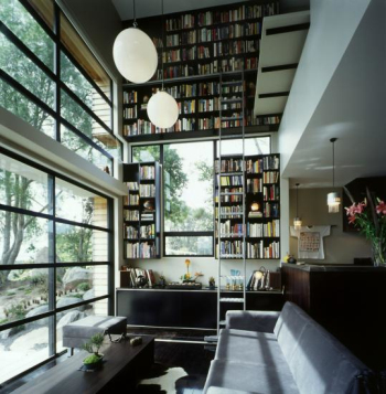 Book room surrounded by