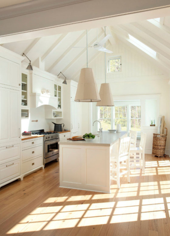 Simple and warm white home kitchen
