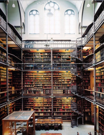 Exaggerated library stacks