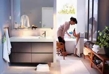 Clean, light and spacious bathroom model