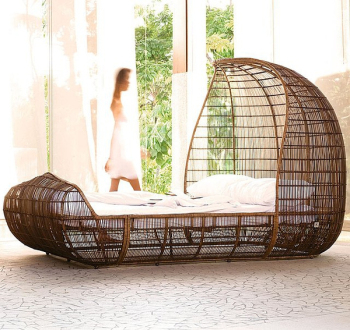Retro creative bamboo bed